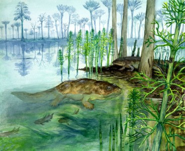 Devonian scene with Ichthyostega and Archeocalamites